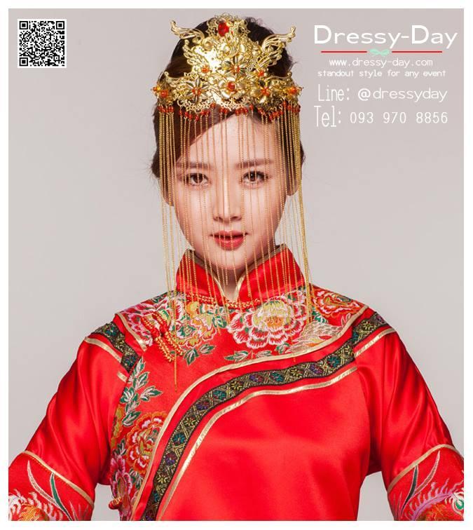 รหัส ปิ่นปักผมจีน : TR004 ขาย ปิ่นปักผมจีน พร้อมส่ง สีทอง เครื่องประดับผมจีน แบบโบราณ เหมาะมากสำหรับใส่ในพิธียกน้ำชา และงานแต่งงานธรรมเนียมจีน