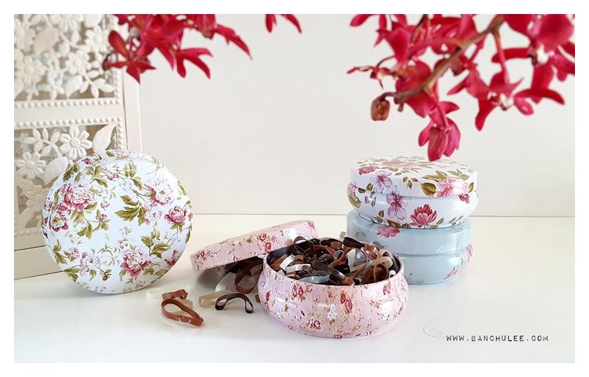 Candy Tin Box กล่องเก็บของ ลายดอกไม้ งานสังกะสี