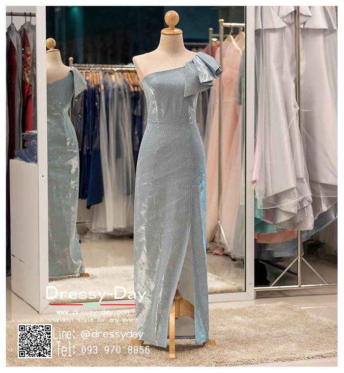 รหัส ชุดราตรียาวคนอ้วน :PK013 ชุดแซก ชุดราตรียาวมีแขน หรู สีฟ้า ไหล่เดียว เรียบหรู เหมาะสำหรับงานแต่งงาน งานกลางคืน กาล่าดินเนอร์