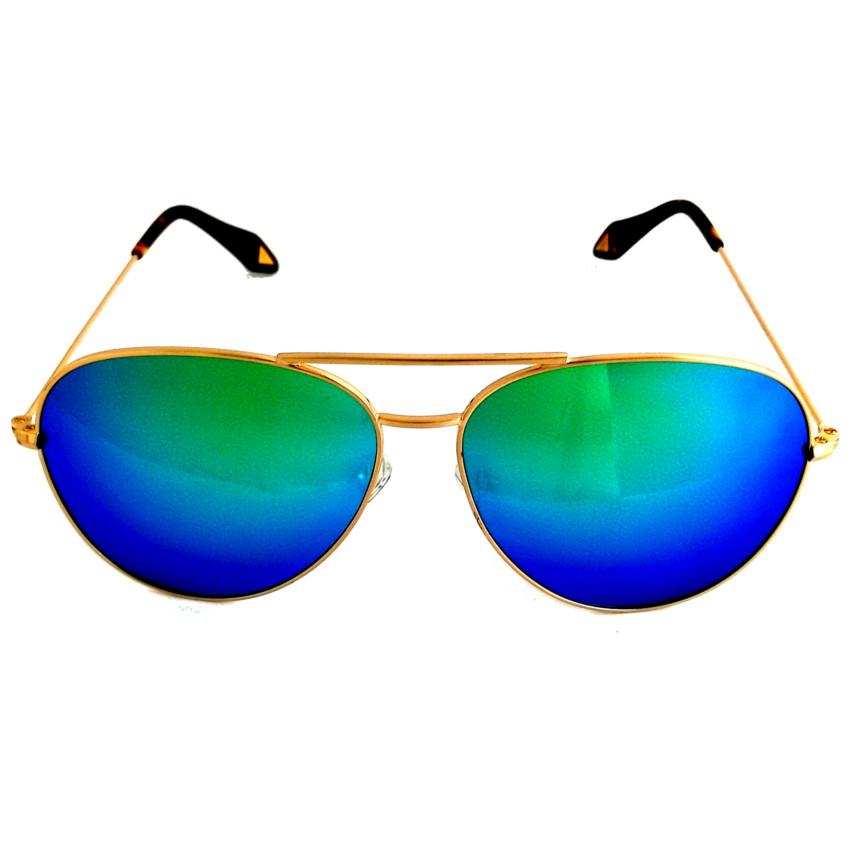 แว่นกันแดด ทรง aviator ชุมทอง 5 ไมครอน เลนส์ปรอบสีฟ้าเขียว - 14,60