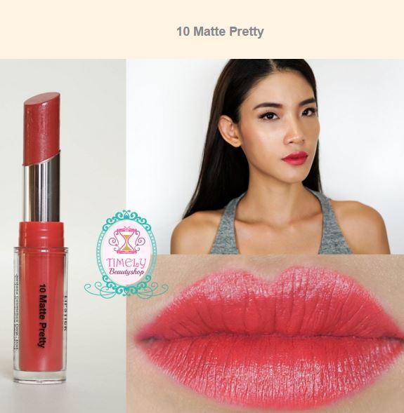 Jordana Modern Matte Lipstick #10 Matte Pretty ลิปแมตตัวใหม่ติดทนแน่นกว่าเดิม! แต่มีความชุ่มชื้น ไม่ทำให้ปากแห้งหรือคล้ำ เนื้อเบา พิกเม้นที่ชัดเจนมาก กลบสีปากได้มิด แถมยังติดทนมากด้วยคือทาแล้วไม่ต้องเติมซ้ำบ่อยๆ มีสีให้เลือกมากถึง 18 สี