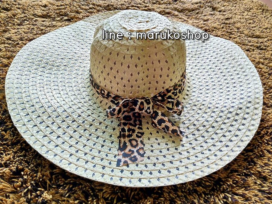 หมวกเที่ยวทะเล หมวกปีกกว้าง หมวกสานสีครีม แต่งโบว์ลายเสือเก๋ๆ