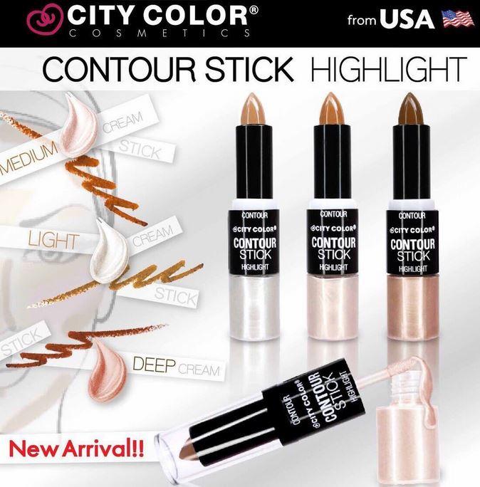 City Color Contour Stick with Cream Highligh คอนทัวร์แบบแท่งและไฮไลท์เนื้อครีม ที่ถูกออกแบบมาเป็นพิเศษทั้งคอนทัวร์ใบหน้า และไฮไลท์ในหนึ่งเดียว ในการแก้ไขอำพรางรูปหน้าให้เรียวเล็กและยังช่วยสร้างมิติให้กับใบหน้าพร้อมกับ เพิ่มประกายสว่าง บนโหนกแก้ม
