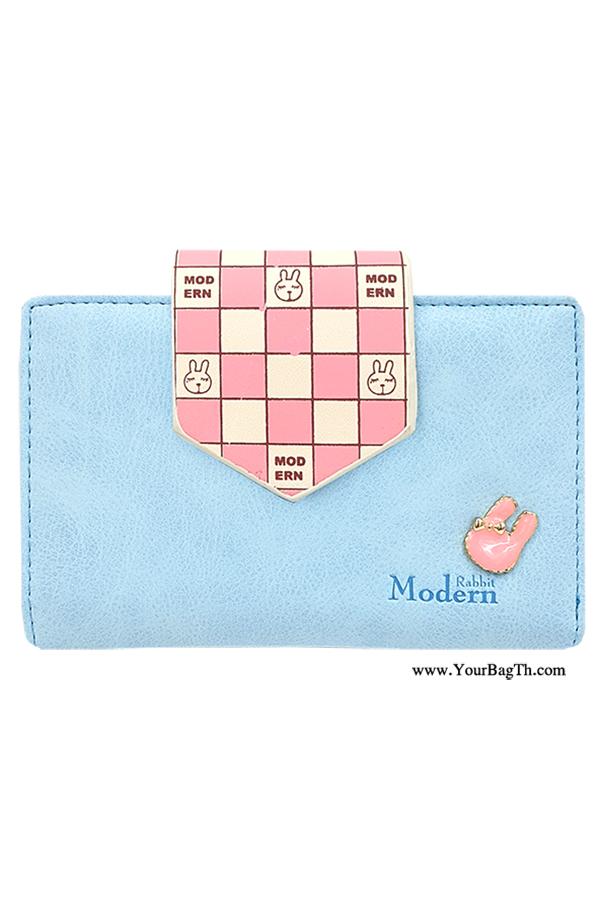 กระเป๋าสตางค์ผู้หญิง ทรงสั้น Modern Rabbit Medium สีฟ้า