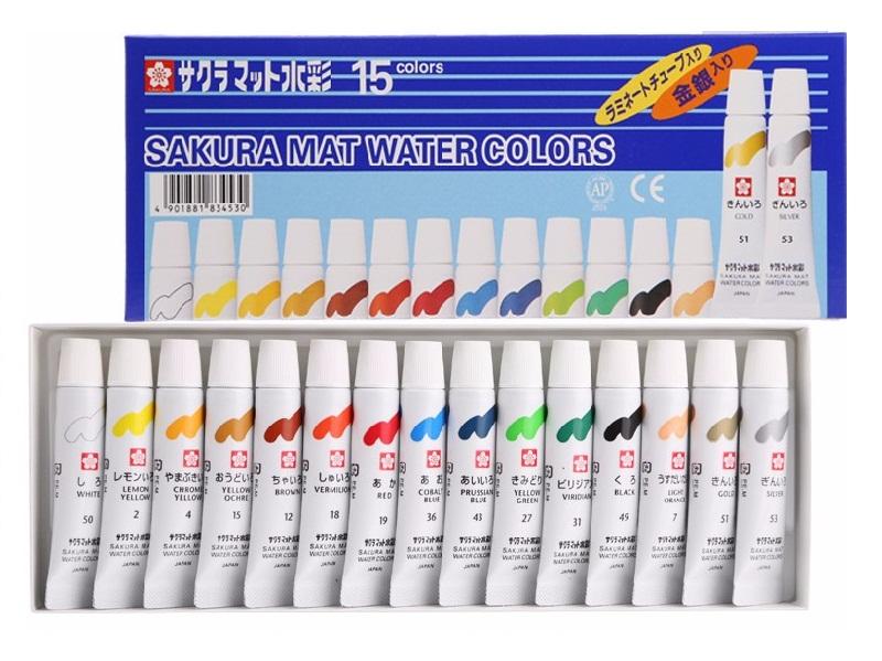 ชุดสีน้ำSakura 15สีพิเศษสีเงินและสีทอง (Sakura Watercolour Set of 15 Special Silver & Gold Colour)