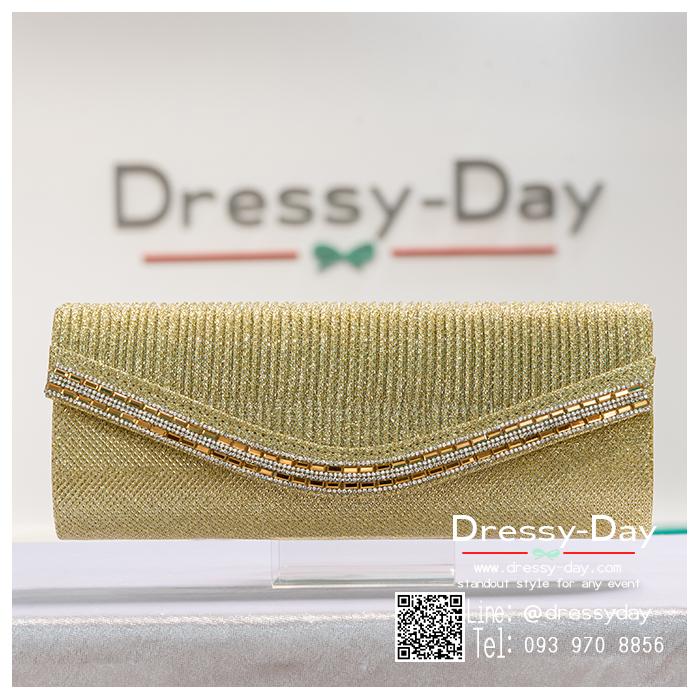 กระเป๋าออกงาน TE014: กระเป๋าออกงานพร้อมส่ง สีทอง ดีเทลคริสตอลสุดหรู ราคาถูกกว่าห้าง ถือออกงาน หรือ สะพายออกงาน สวย หรู เหมือนดารา