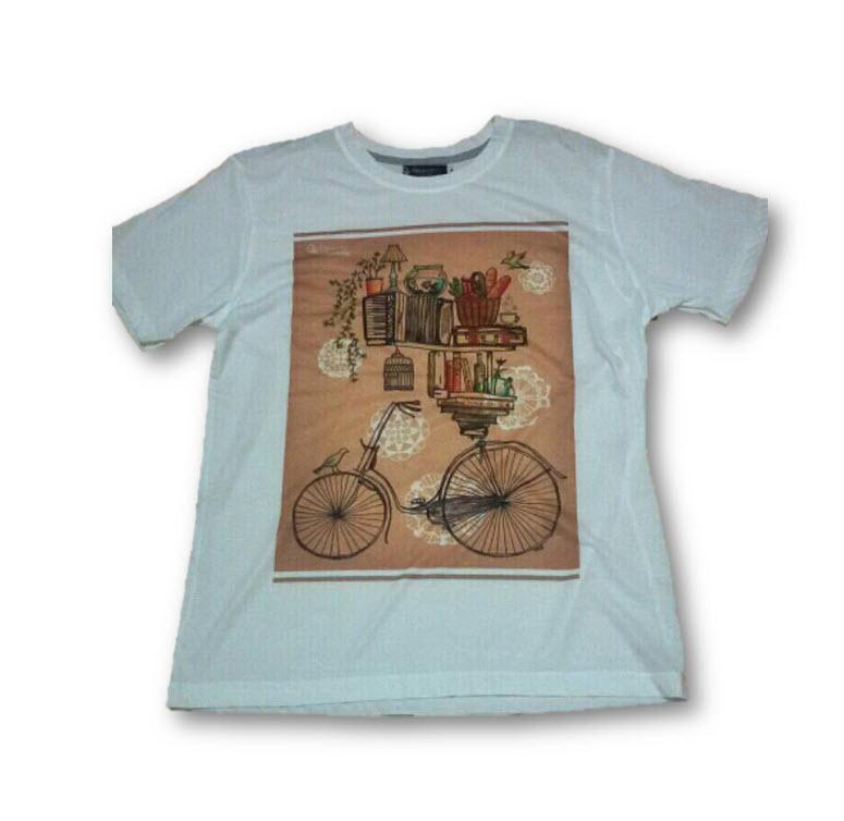 เสื้อยืดพื้นขาว (GRAVITY59) แฟชั่นแนว Vintage ลายจักรยานบรรทุกของ Size:L