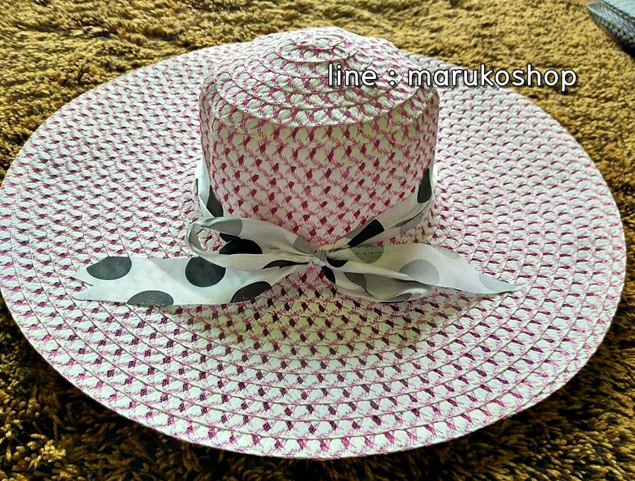 หมวกเที่ยวทะเล หมวกปีกกว้าง หมวกสานโทนชมพู แต่งโบว์ลายเก๋ๆ