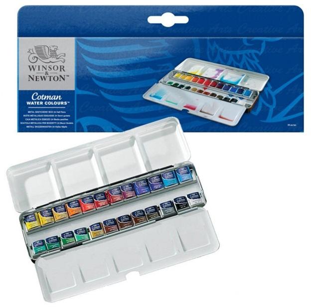 ชุดสีน้ำWinsor Cotman Metal Box half,24สี