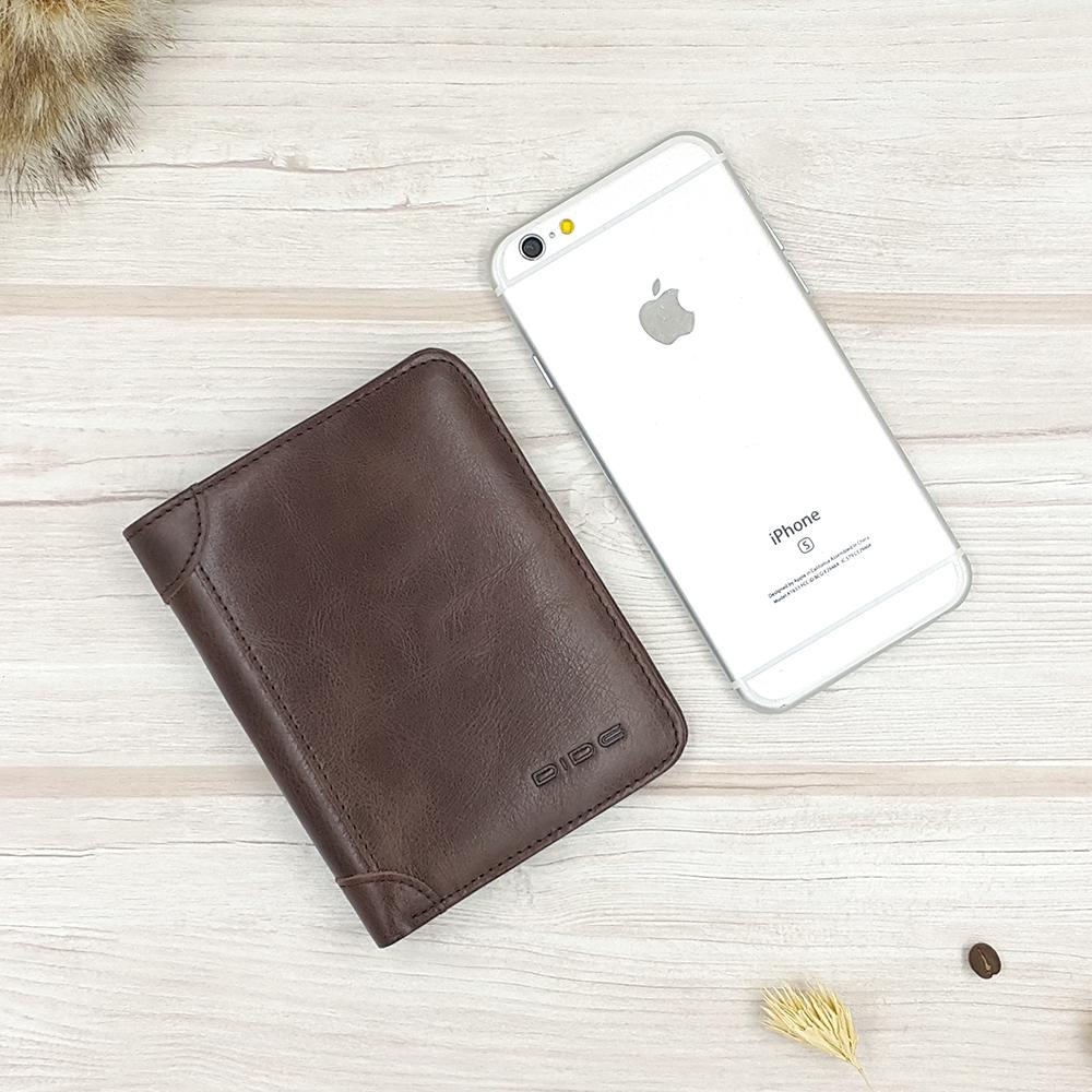 กระเป๋าสตางค์ผู้ชายทรงตั้งหนังแท้ Leather DIDE Chocolate สีน้ำตาลเข้ม สีช็อคโกแลต