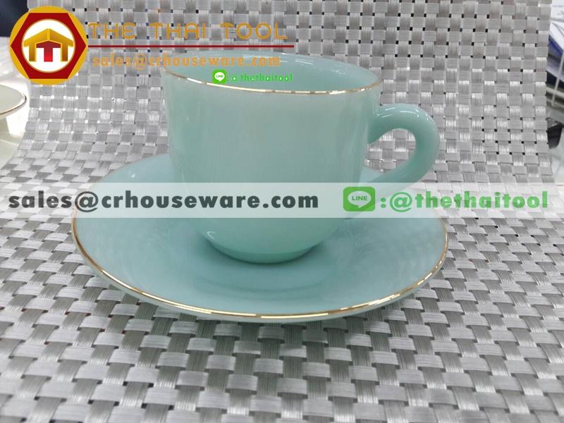 ถ้วยกาแฟเนื้อมุกพร้อมจานรอง 025-LD60-C๋V สีเขียวคราม verdigris