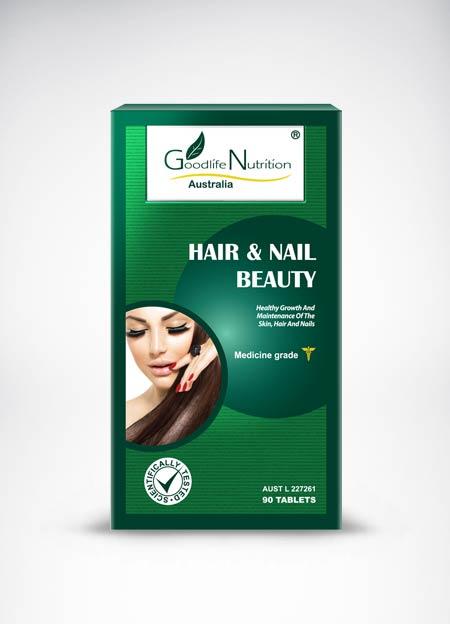 Goodlife Nutrition Hair & Nail Beauty 90 เม็ด วิตามินบำรุงผมและเล็บ เร่งผมยาว สะบัดผมสวยสุขภาพดี สินค้านำเข้าจากออสเตรเลีย คุณภาพสูง เห็นผลชัดเจน รวดเร็ว ลดการหลุดร่วงเรื้อรัง ผมหงอกก่อนวัย รากผมอ่อนแอให้แข็งแรงขึ้น เล็บเงางาม ไม่แตกเปราะ หักง่าย