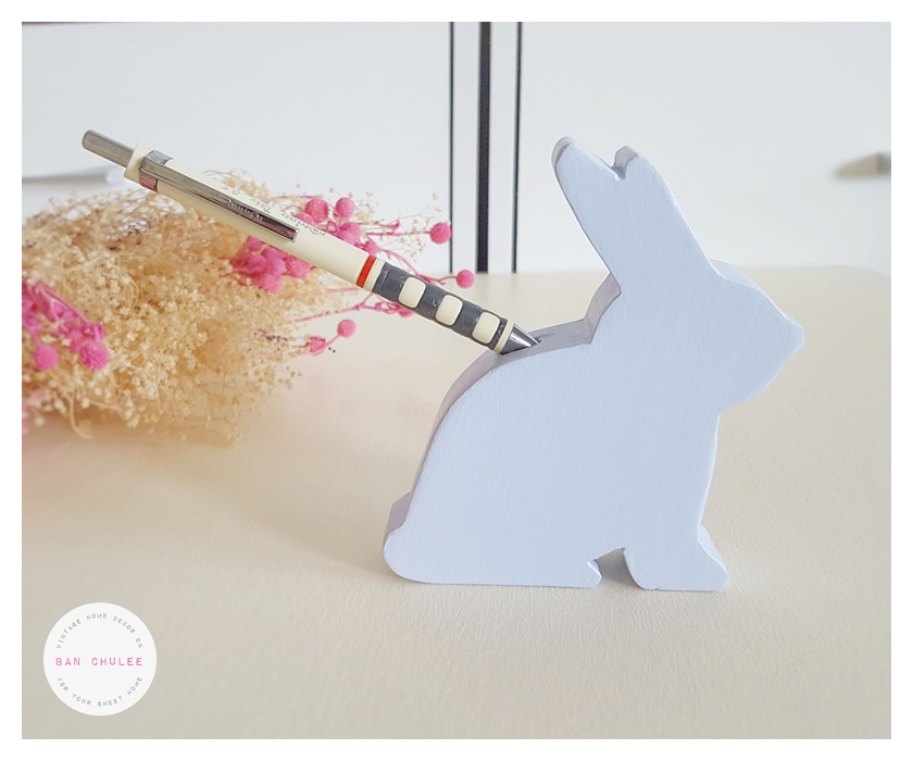 Wooden Bunny With Pen Holder - Blue Dawn