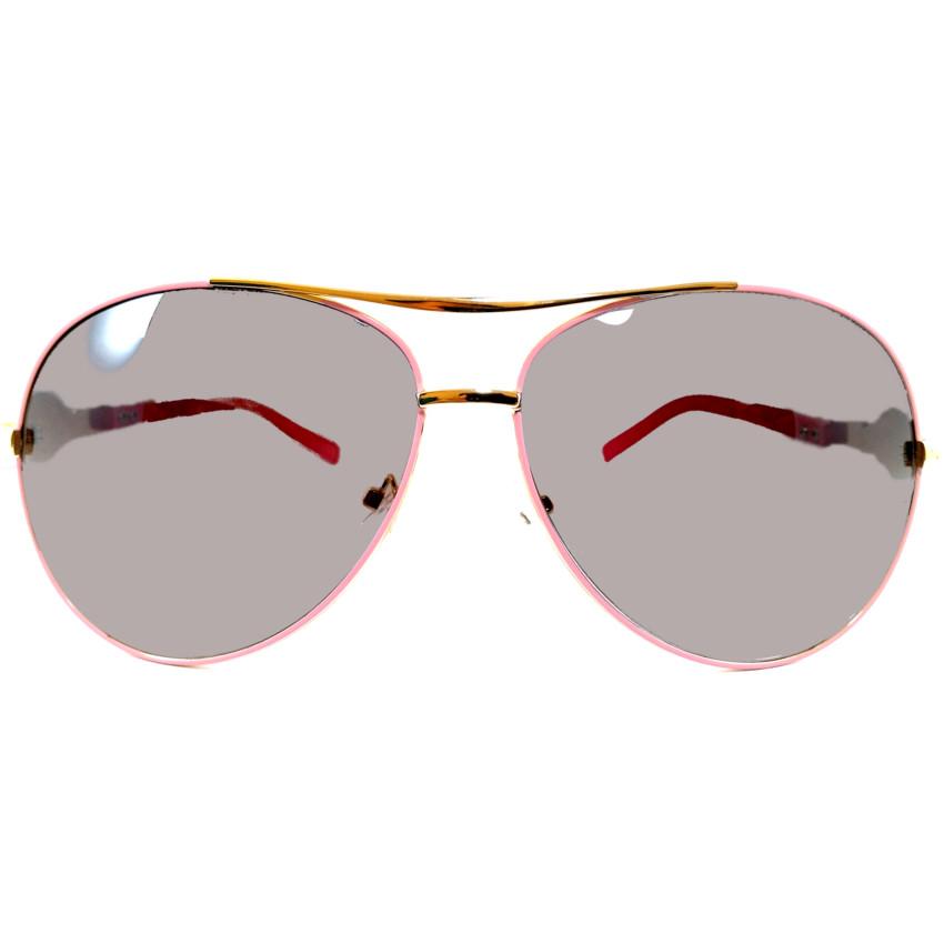 แว่นกันแดด แนว Oversize Decorative กรอบทองลายชมพู เลนส์ดำ