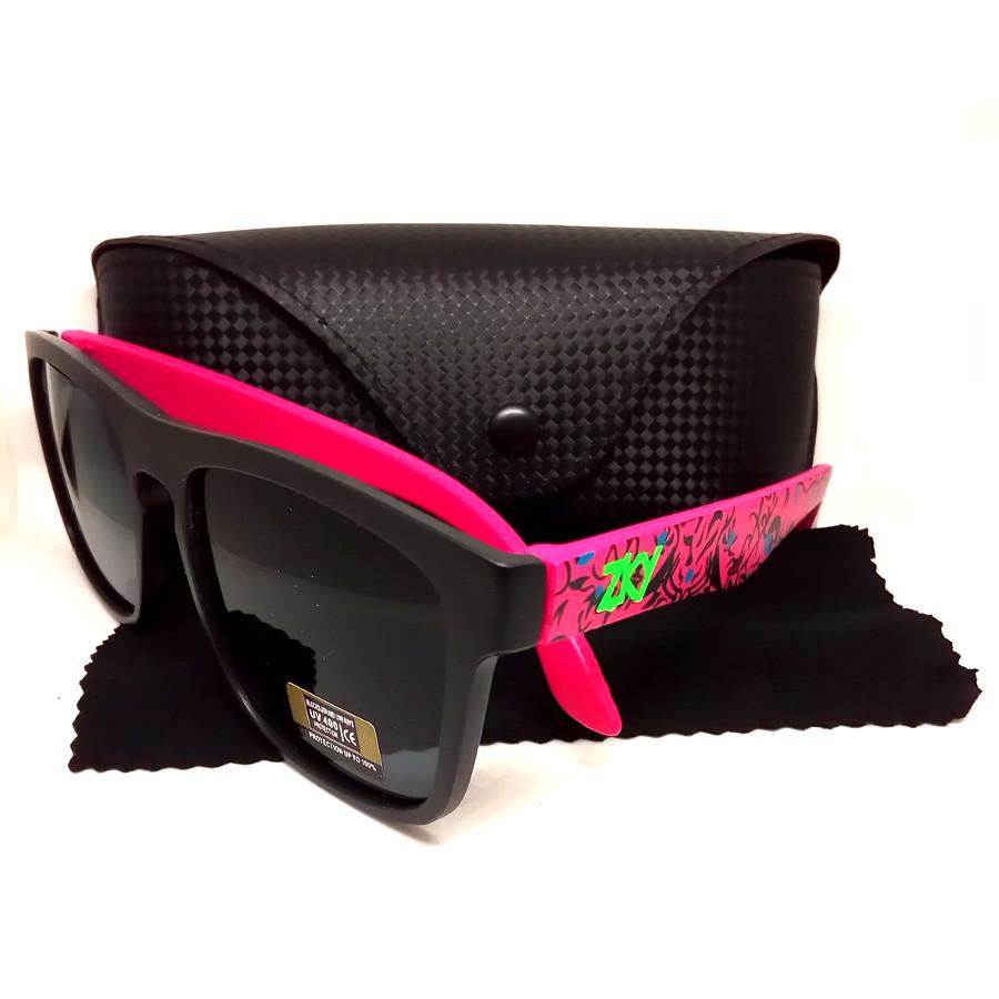 แว่นกันแดดแฟชั่น ZKY สีชมพู รุ่นเฟี้ยวฟ้าว