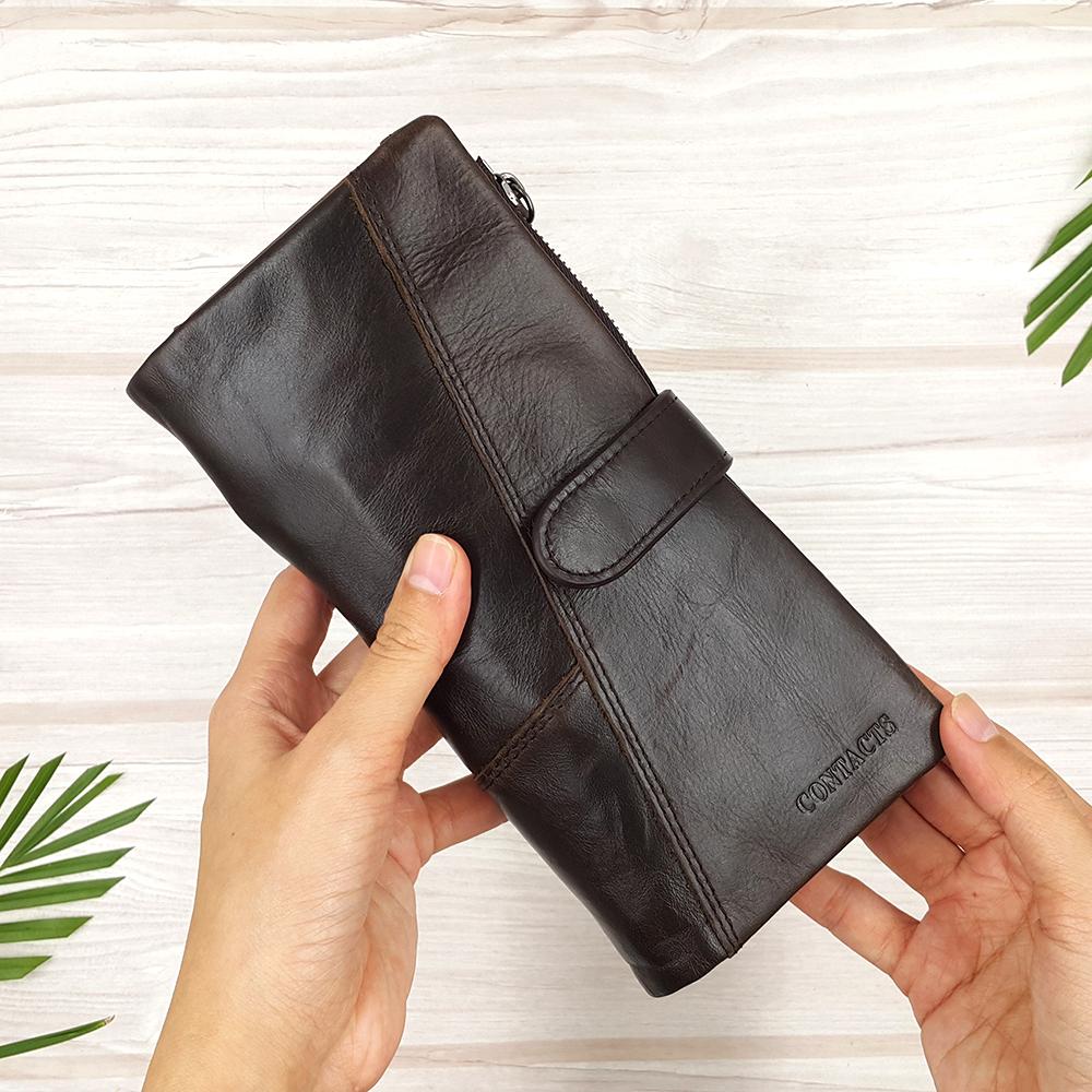 กระเป๋าสตางค์หนังแท้ทรงยาว สีน้ำตาลกาแฟ เก็บของได้เยอะมาก เเยกชิ้นส่วนได้ ใส่มืือถือได้