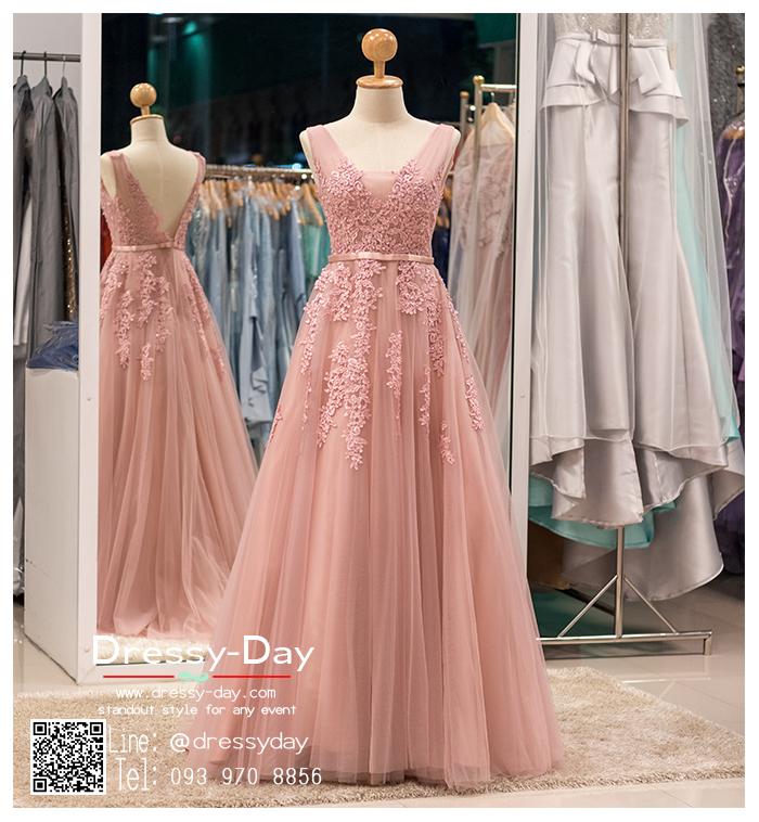 รหัส ชุดไปงานแต่ง :PF074 ชุดราตรียาว แขนกุด สีชมพูกลีบบัว สวย สง่า ดูดีแบบเจ้าหญิง ใส่ไปงานแต่งงาน งานกาล่าดินเนอร์ งานเลี้ยง งานพรอม งานรับกระบี่