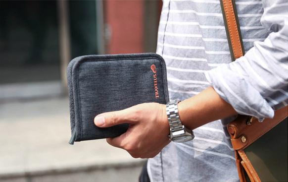 กระเป๋าสตางค์ใส่หนังสือเดินทาง พาสปอร์ต Passport Bag Travelus Grey สีเทา