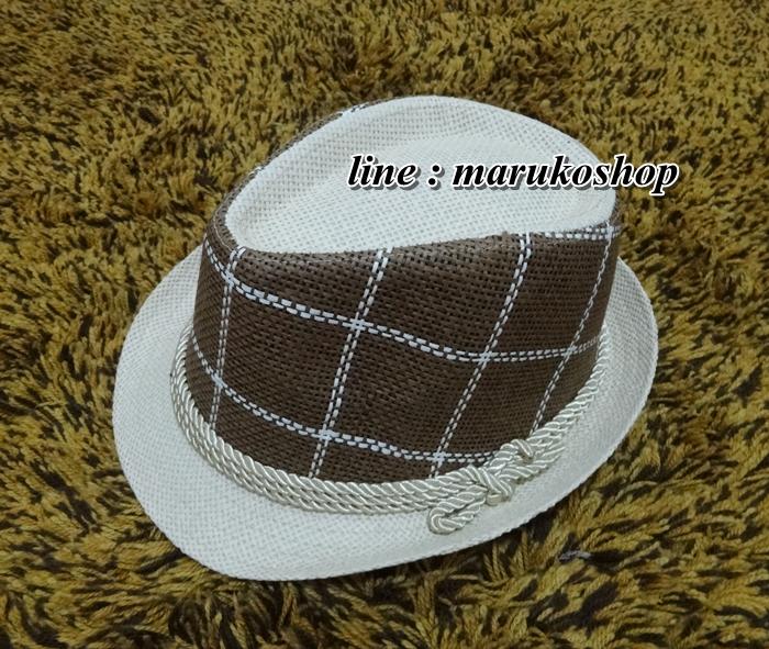 หมวกปานามา หมวกสาน หมวกปานามาปีกสั้นแต่งลายน้ำตาลเข้ม คาดเชือก สินค้าพร้อมส่งค่ะ