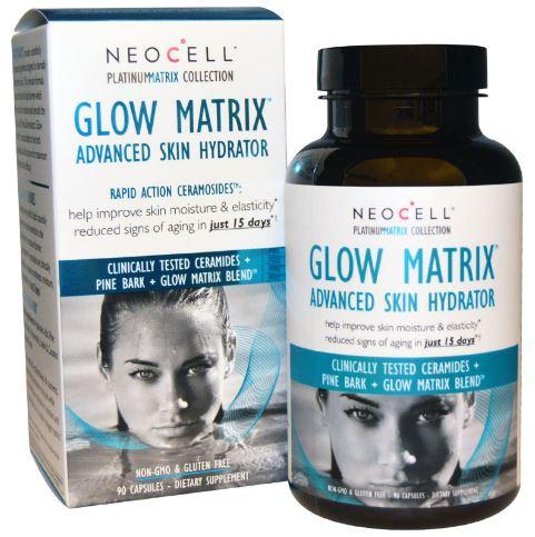 Neocell Glow Matrix Advanced Skin Hydrator 90 Capsules อาหารเสริมสูตรลดริ้วรอยแบบลึก ได้รับรางวัลปีล่าสุดจากนิตยสารชั้นนำจากสหรัฐ ปีล่าสุด ( 2015 ) ตอบโจทย์ทุกเรื่องราวกับความสวยความงามและสุขภาพ เพิ่มความยืดหยุ่น เติมเต็มร่องลึกของริ้วรอย การันตี 15 วันเห