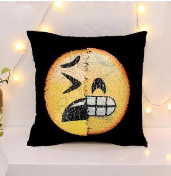หมอนเปลี่ยนลาย Emoji Sequins Pillow Cover