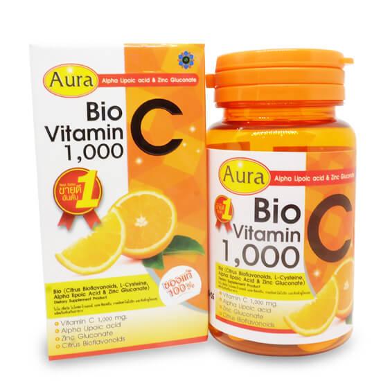 Aura Bio Vitamin C 1,000 mg. ออร่า ไบโอ วิตามิน ซี หน้าใส สุขภาพดี มีออร่า ให้คุณค่าการต้านอนุมูลอิสระจากแหล่งธรรมชาติ ลดสิว รอยสิวดูจางลง วิตามินซี ที่ได้จากแหล่งธรรมชาติ ผสมแอลฟา ไลโปอิก แอซิด และซิตรัส ไบโอฟลาโวนอยด์ ช่วยเสริมสร้างคอลลาเจน