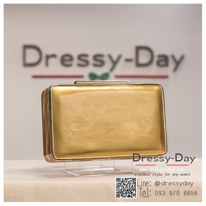 กระเป๋าออกงาน TE032 : กระเป๋าคลัชพร้อมส่ง สีทอง ขอบทอง สวยแบบเรียบหรู ใช้สะพายออกงานเช้า กลางวัน หรือถือไปงานกลางคืน สวยหรู ดูดดีมากๆ