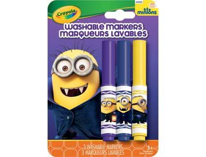 Crayola GONE BATTY MINION Washable Markers สีเมจิกล้างออกได้ 3 แท่ง ปลอดสารพิษ