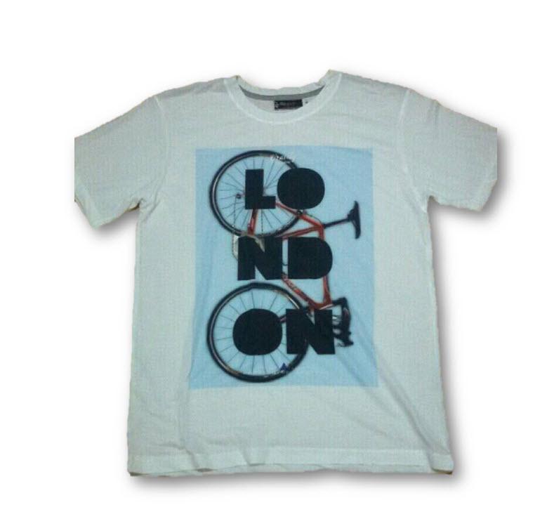 เสื้อยืดพื้นขาว (GRAVITY59) แฟชั่นแนว Vintage ลายจักรยานพิมพ์คำว่า LONDON Size:L