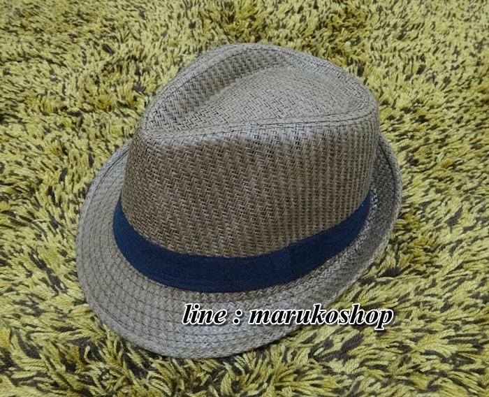 หมวกปานามาปีกสั้น หมวกสาน หมวกปานามา สีน้ำตาลเข้ม คาดดำ พร้อมส่งค่ะ
