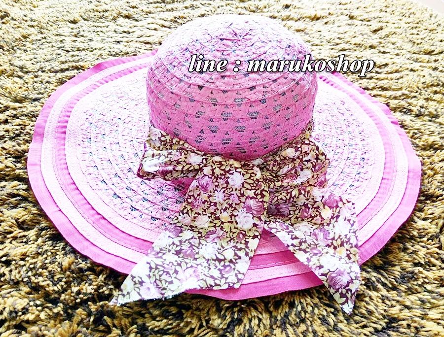 หมวกปีกกว้าง หมวกเที่ยวทะเล หมวกสานโทนสีชมพูน่ารักๆค่ะ แต่งโบว์วินเทจรอบเก๋ ๆ