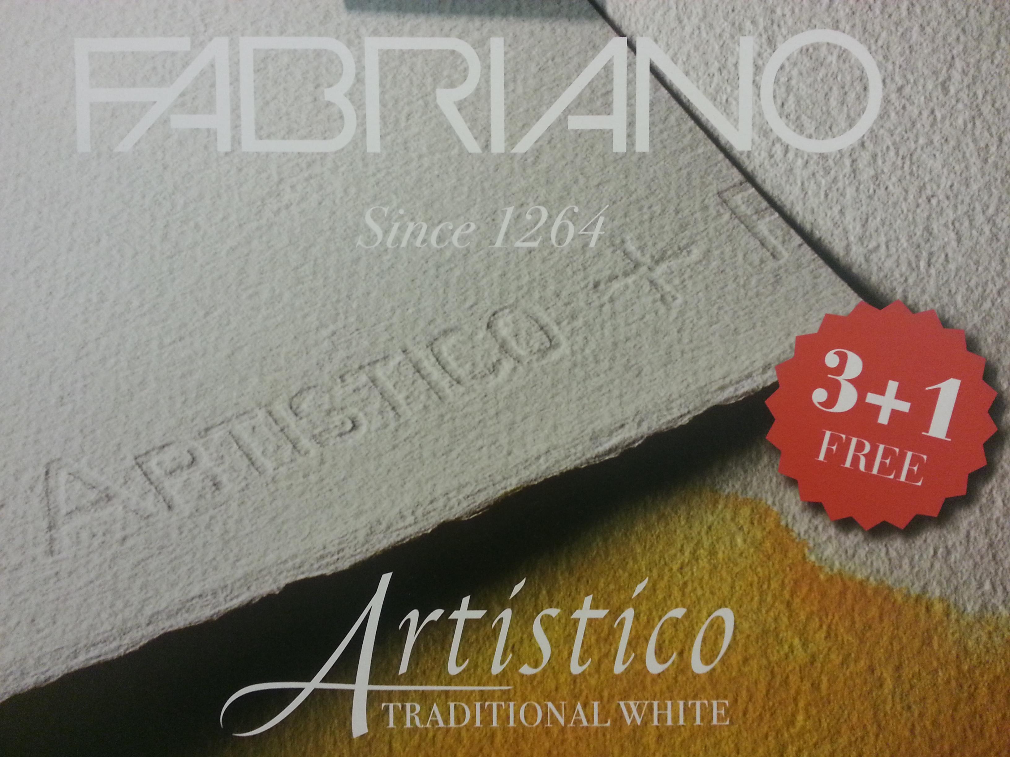 ***ชุด 3แผ่นแถม1แผ่น*** กระดาษสีน้ำFabriano Artistico TraditionWhite Cotton100% 56x76cm 300g กึ่งหยาบ (Fabriano Artistico TraditionWhite Watercolor Paper Coldpress 3+1Free)