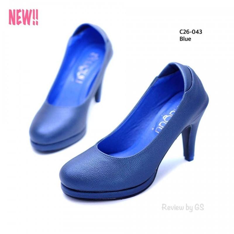 รองเท้าคัทชูส้นสูง หัวกลม ดีไซน์เรียบหรู (สีน้ำเงิน )
