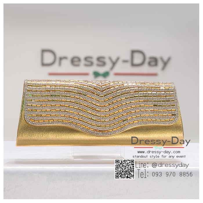 กระเป๋าออกงาน TE074 : กระเป๋าออกงานพร้อมส่ง สีทอง ดีเทลคริสตัล สุดหรู ราคาถูกกว่าห้าง ถือออกงาน หรือ สะพายออกงาน สวย หรู ดูดีเริ่ดมากค่ะ