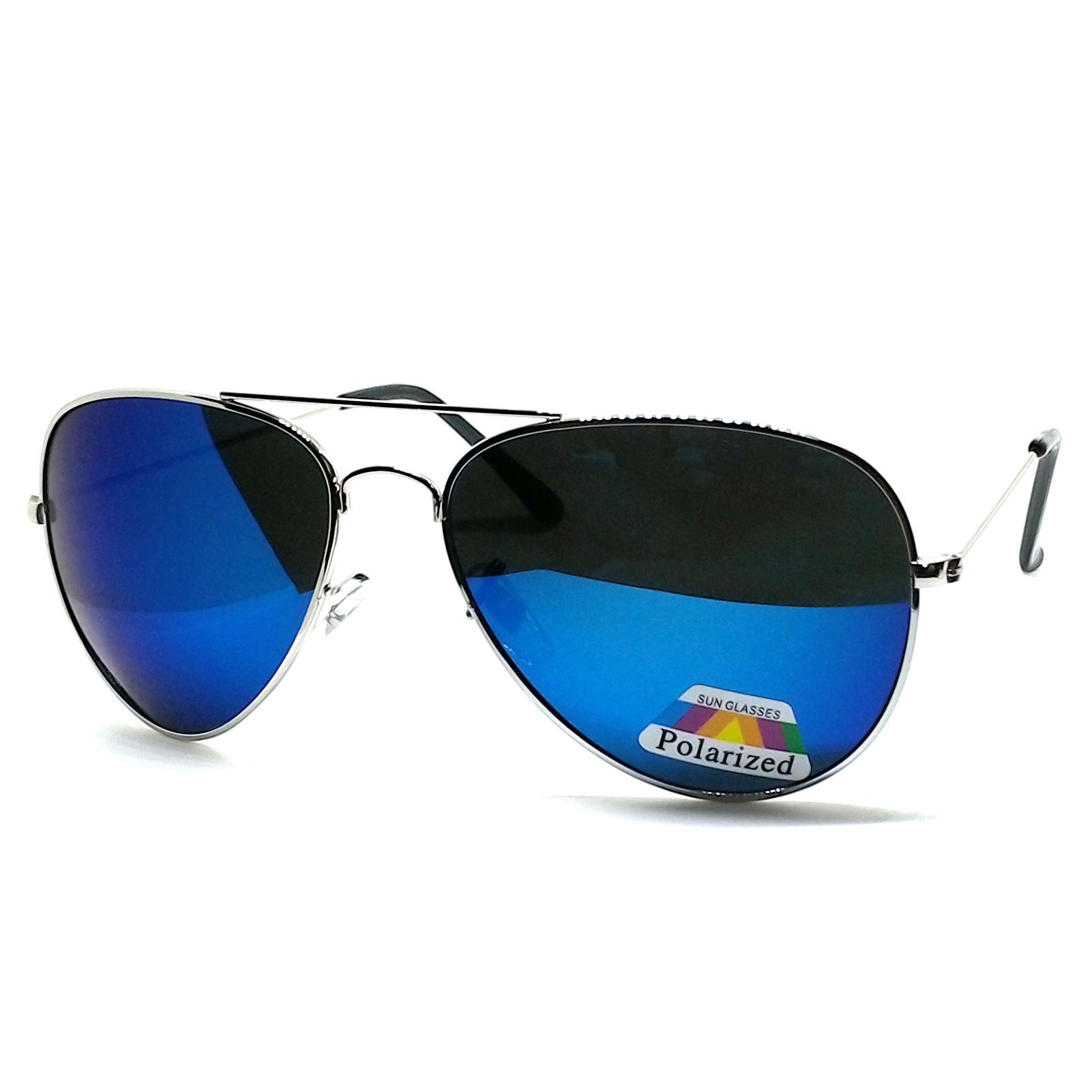 แว่นกันแดด โพลาไรซ์ ทรง Aviator กรอบสีเงิน เลนส์ ปรอทสีฟ้าคราม พร้อมกล่องสปริงผ้ายีนส์