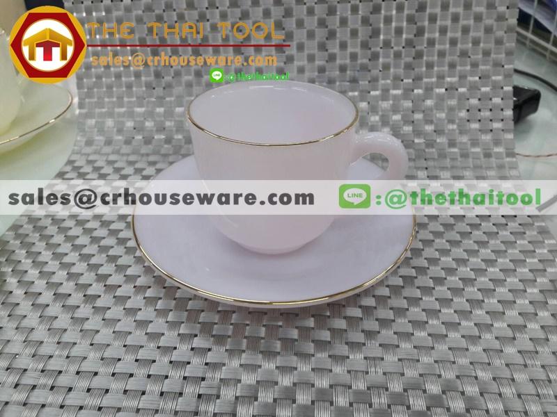 ถ้วยกาแฟเนื้อมุกพร้อมจานรอง 025-LD60-CP สีชมพูอ่อน BABY PINK