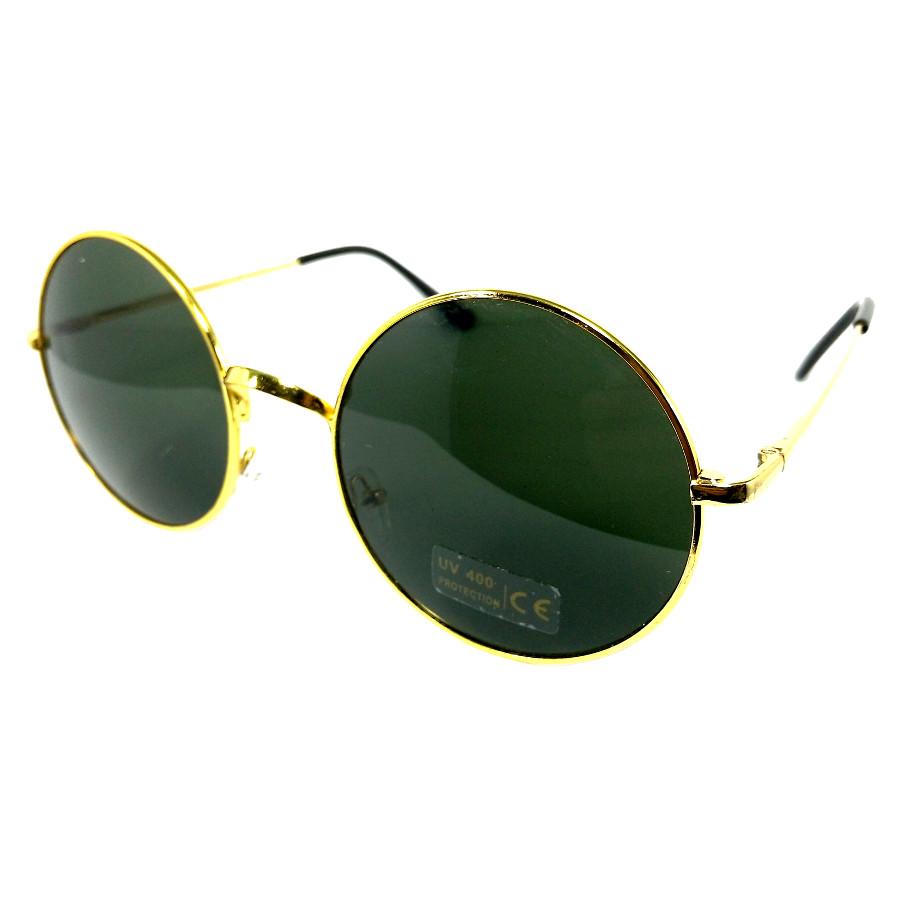 แว่นกันแดด แฟชั่น กรอบทอง เลนส์เทาอมเขียว