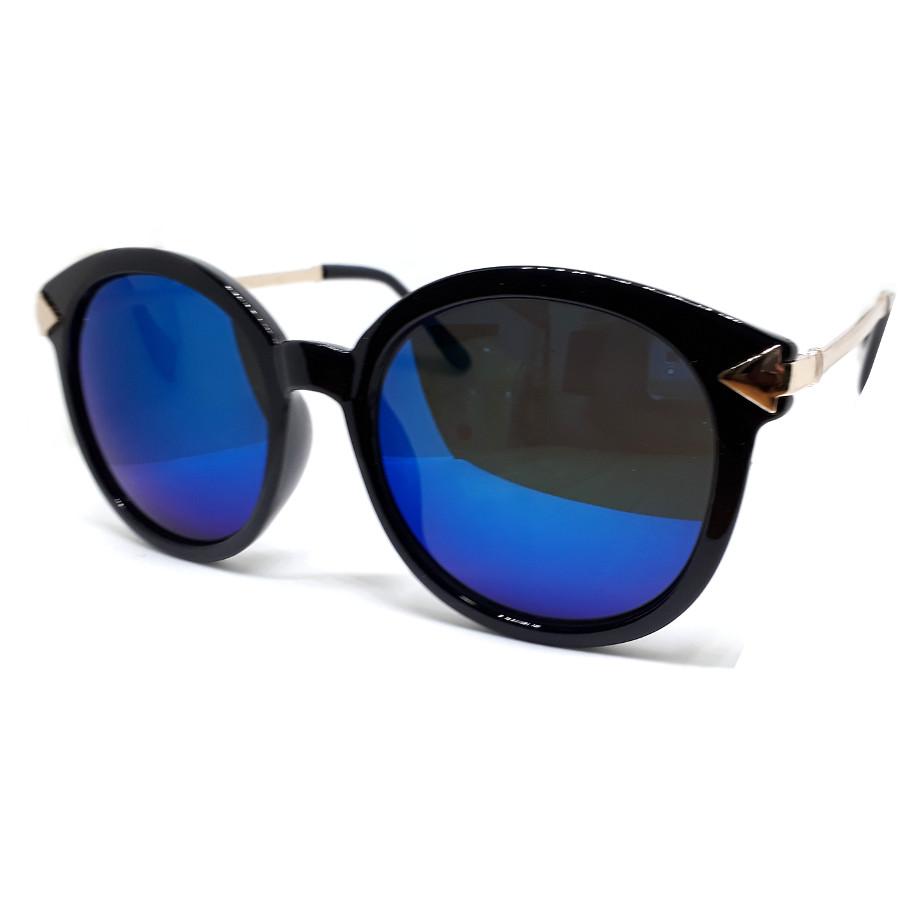 แว่นแฟชั่น วินเทจ แว่นกรอบสีดำ เลนส์น้ำเงิน รุ่น Arrow