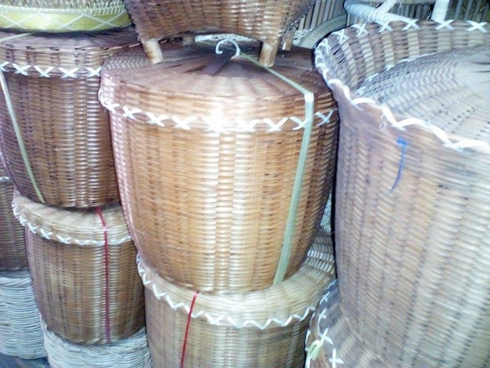 กระบุงไม้ไผ่สาน ไว้ใส่ของ ประดับตกแต่งและอื่นๆ