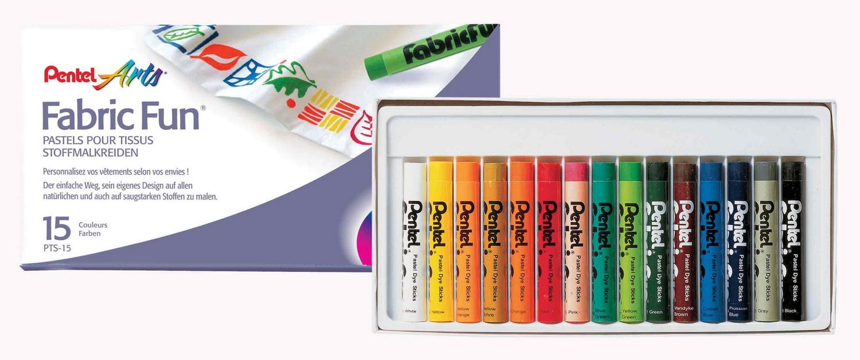 สีชอล์คเขียนผ้าPentel 15สี(12กล่อง)
