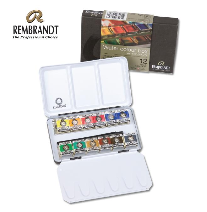 ชุดสีน้ำRembrandt Half 12สีพร้อมพู่กัน กล่องโลหะ (Rembrandt Metal Case Set of 12)