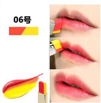 NOVO Double Color Lipstick Moisturizing Gradient Lipstick #06 Cheeky ลิปทูโทน เทรนด์ทาปากไล่สีแบบสาวเกาหลี ลิปสติกนวัตกรรมใหม่ที่ดีกว่าด้วย 2 สี และ 2 เนื้อสัมผัส ที่ไม่ใช่แค่จะทาริมฝีปากให้ดูมี มิติเพียงอย่างเดียว แต่ยังสามารถช่วยให้ริมฝีปากหนาและดูบางลง
