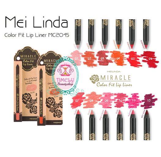 Mei Linda Miracle Color Fit Lip Liner ลิปไลเนอร์เนื้อแมทท์ วาดให้ริมฝีปากได้รูปสวย เม็ดสีแน่นติดทน เป็นสูตรกันน้ำไม่เลอะ ระหว่างวัน