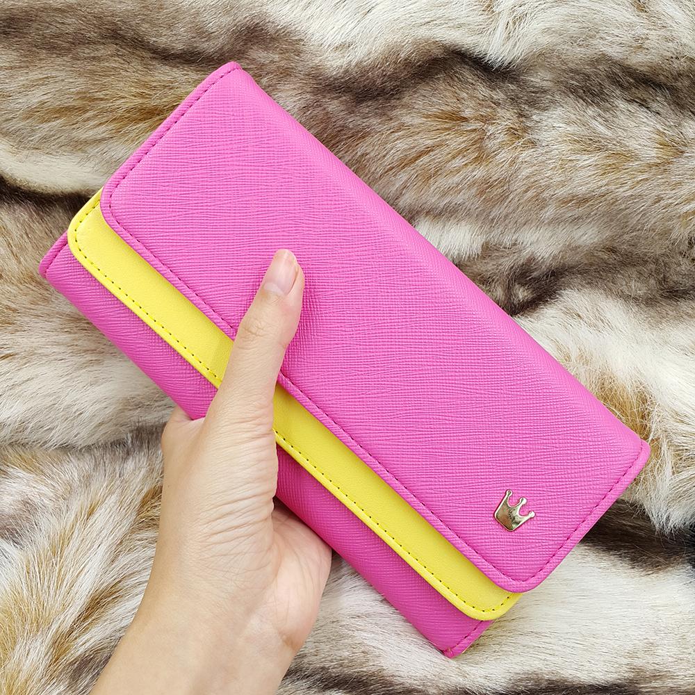 กระเป๋าสตางค์ผู้หญิงทรงยาว รุ่น W Long Crown Pink Yallow
