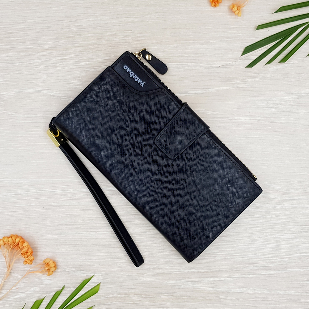 กระเป๋าสตางค์ผู้ชาย กระเป๋าสตางค์หนัง YATEBAO ทรงยาว สีดำ