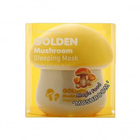 Tony Moly Magic Food Golden Mushroom Sleeping Mask 70ml. มาส์กเห็ดสีทองที่มอบความชุ่มชื้นให้กับผิวที่ขาดความมีชีวิตชีวา ในยามนิทราด้วยเมก้าทริปเปิ้ลมัชรูม (เห็ดสน, เห็ดหอม, เห็ดชากา (Chaga)) ที่อุดมไปด้วยสารบำรุงช่วยให้สุขภาพผิว