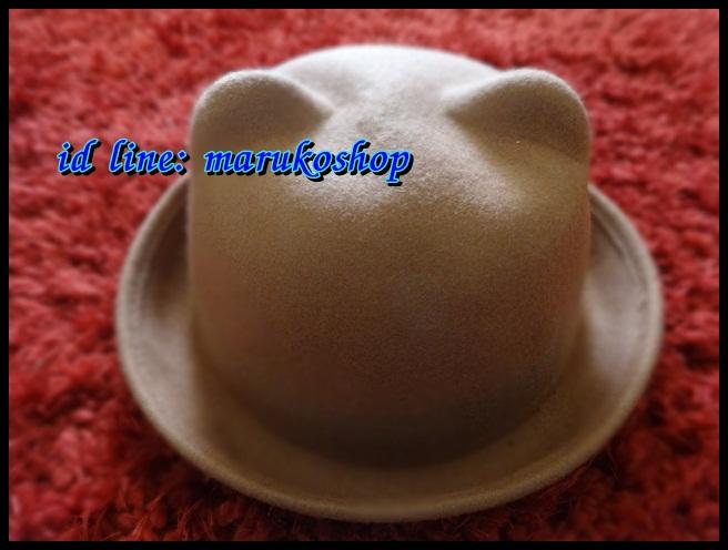 หมวกชาลี หมวกชาลีมีหูสีน้ำตาล ผ้าสักหลาด ** รูปถ่่ายจากสินค้าจริงที่ขายค่ะ**