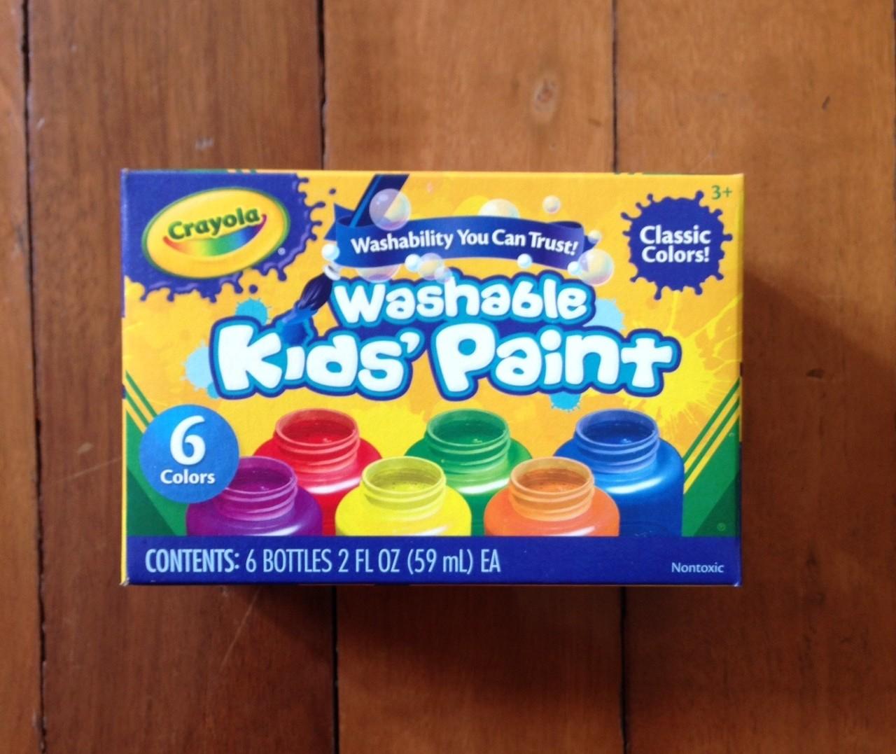 Crayola Washable Kid's Paint สีน้ำ 6 สี พร้อมใช้ในขวดพลาสติกอย่างดี ล้างออกได้ ปลอดสารพิษ