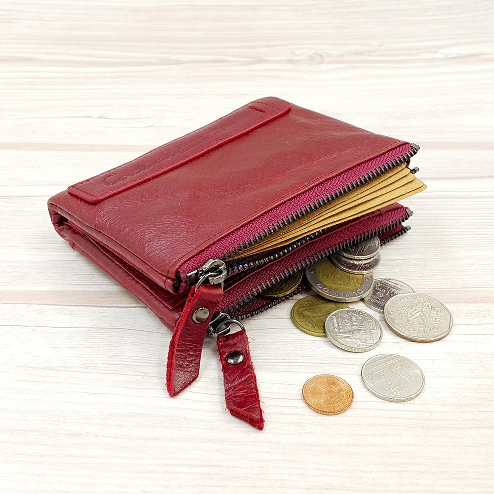 กระเป๋าสตางค์หนังแท้ หนังนิ่ม สีแดงเลือดนก รุ่น Contacts two Zipper Red ส่งพร้อมกล่อง