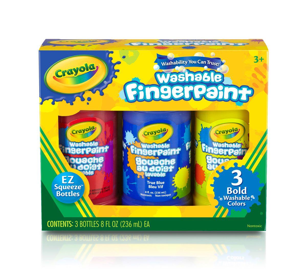 Crayola Washable Finger Paint 8oz: Primary สีระบายด้วยนิ้ว 3 สี (แดง น้ำเงิน เหลือง)